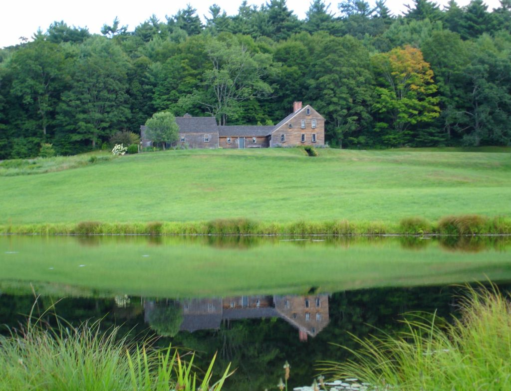 Antique Homes Early American Colonial house architecture built circa 1730 in Willington Connecticut