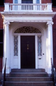 A beautiful classic Georgian entryway with leaded fanlight and sidelites.