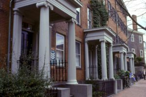Antique Homes Greek Revival row house facades.