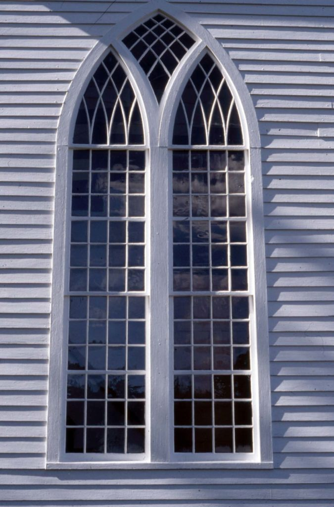 very large Gothic arched window detail