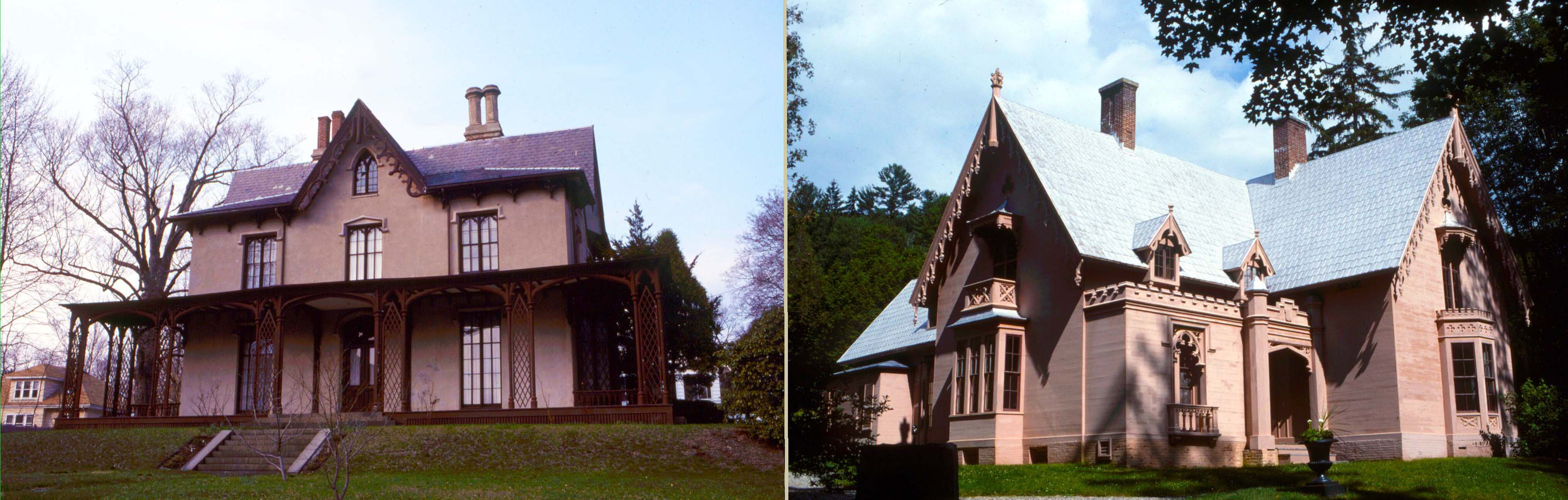 Carpenter Gothic with wood plank exterior in soft pink to resemble stone