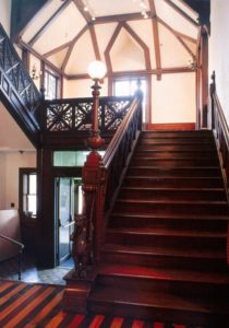 A wonderfully imagined staircase is full of carved and wooden timbered elements