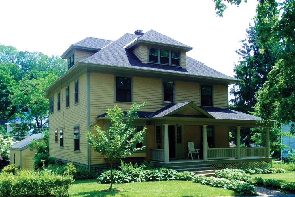 The American Foursquare was part of the larger Arts and Crafts Movement. Many examples are found around the country.
