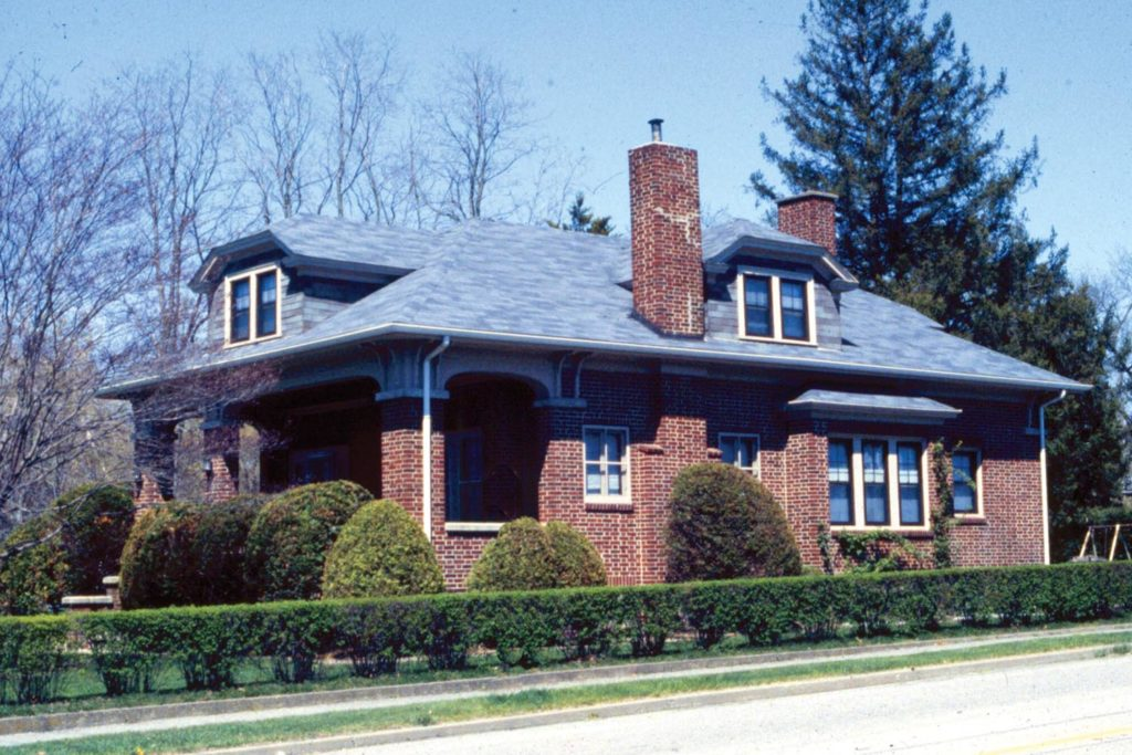 This bungalow was completed in brick. Its low slung design is typical for the style.