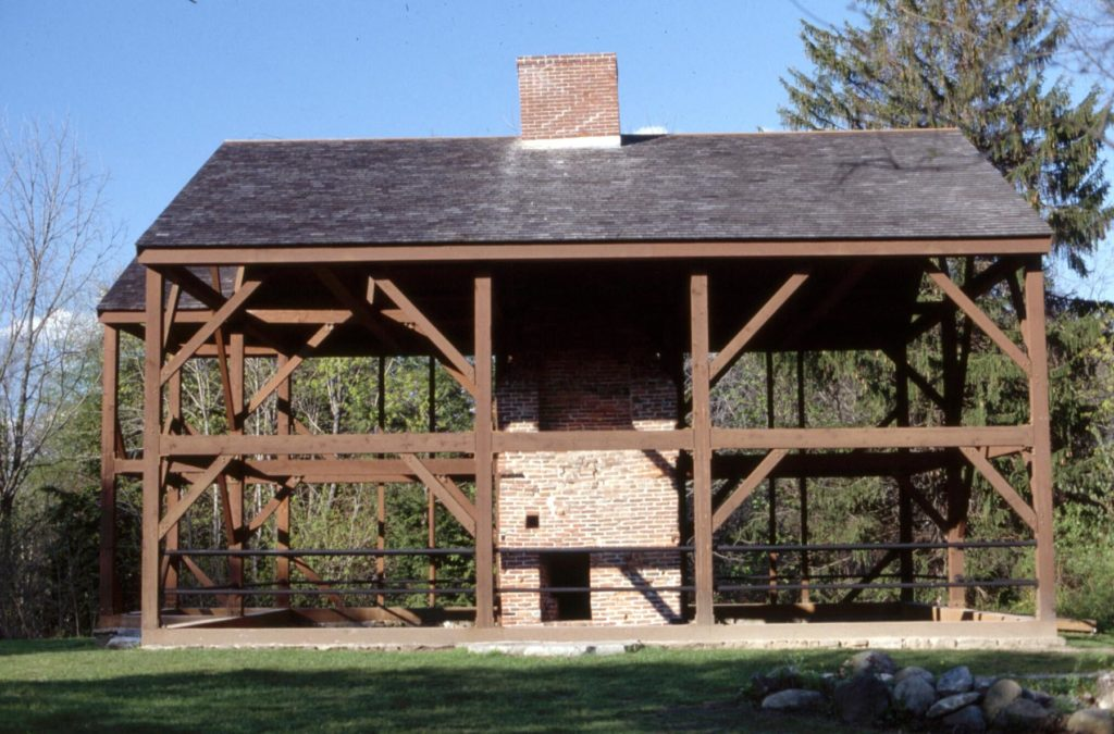 The massive frame, constructed of hand-hewn logs of 8 to 12 inches square were used for posts and beams.