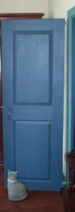 Single panel door in popular Prussian Blue.