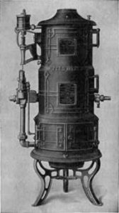 Catalog illustration of an antique heating system.