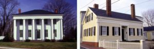 Two forms of the Greek revival, A simple cape form and a classic temple front