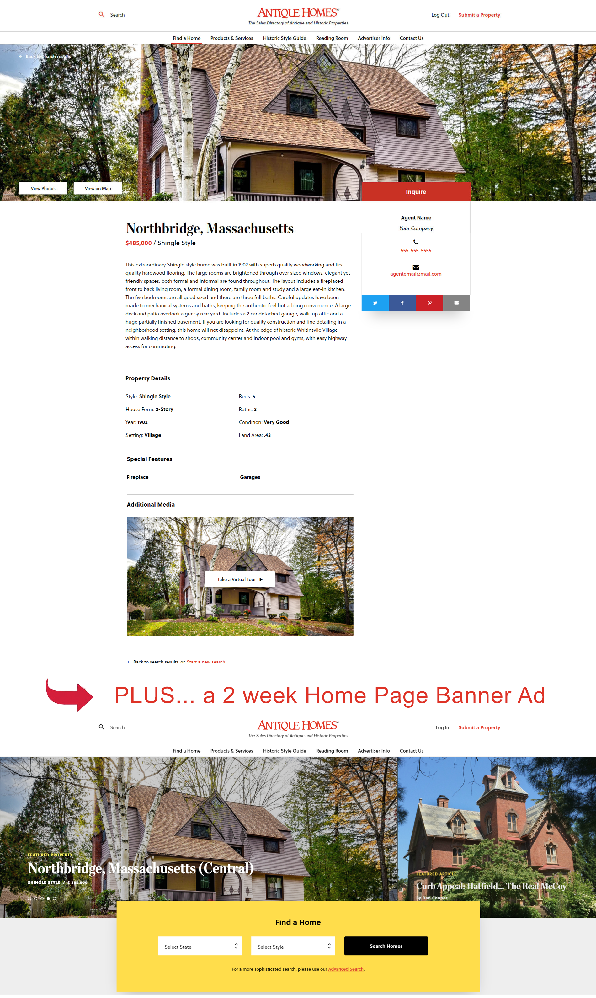 web listing with banner ad sample