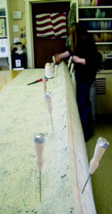 Stitching the carpet roll panels together